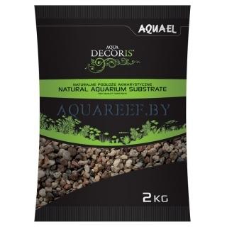 Aquael substrate, Естественный разноцветный гравий 2 кг, 5-10 мм