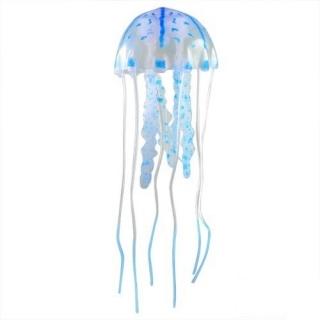"""Декор """"Медуза"""" из силикона для аквариума, плавающая. Цвет голубой."""